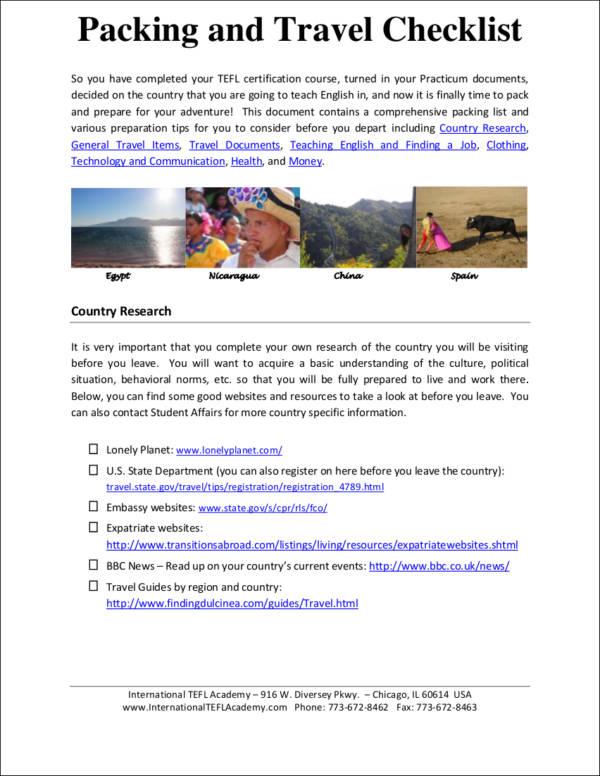 Colorado travel checklist
