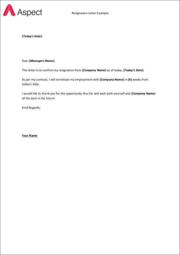 Brief Resignation Letter Sample - Resume Examples | Resume Template