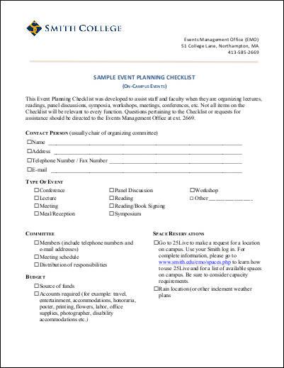 Doc#680830 Sample Event Planning Checklist u2013 Event Checklist - sample event checklist template