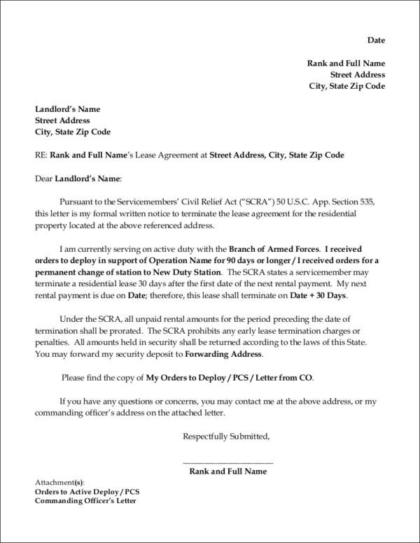 15+ Lease Termination Letter Format Samples  Templates - Free Word