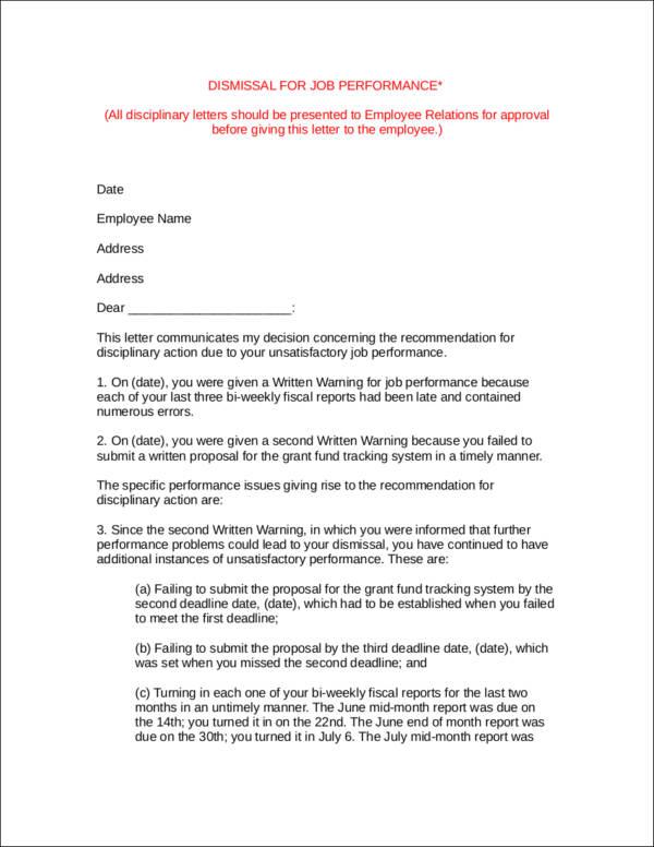 job dismissal letter