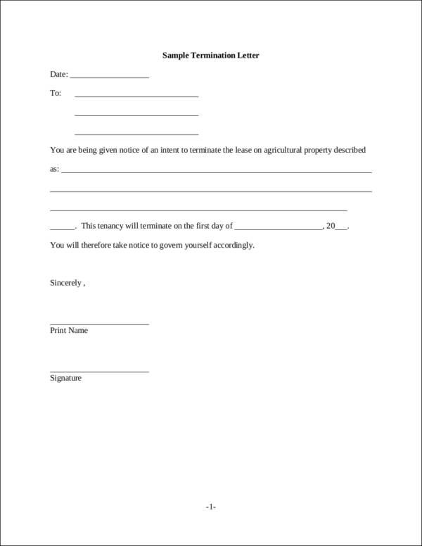 16+ Job Termination Letter Samples  Templates - Free Word, PDF