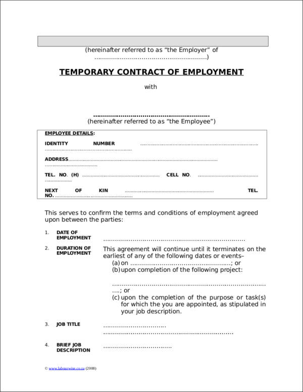 Employment Contracts Executive Employment Contract Sample Sample - temporary employment contract