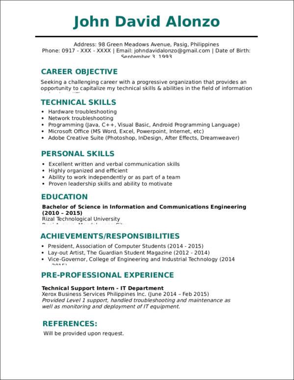 resume templates jobstreet