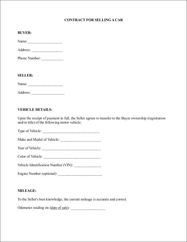 Difference between a Contract and an Agreement Templates and Samples - car sales contract sample