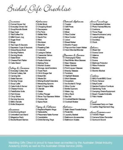 Wedding Registry Checklists   Sample Templates