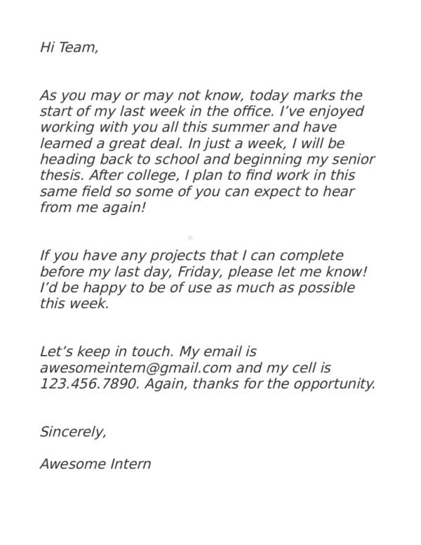Writing an Internship Resignation Letter Sample Templates