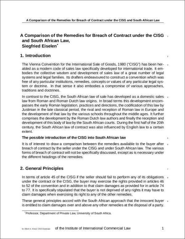 Remedies for Contract Breachesu2014Free Download in PDF - contract breaches remedies