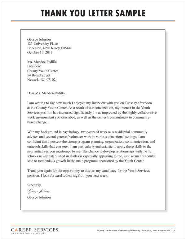 interview thank you letter format