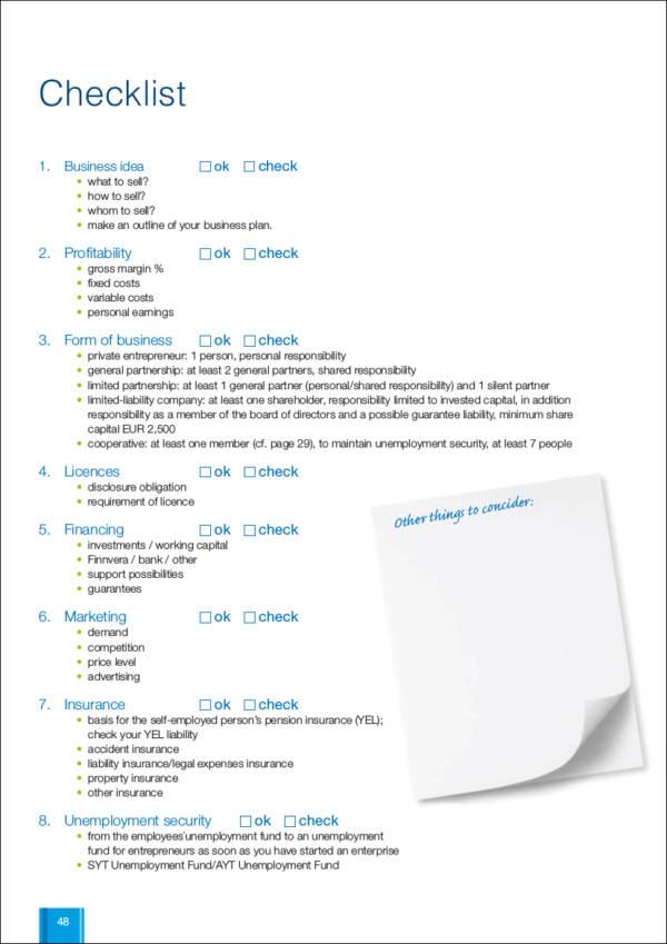 Entrepreneurial Success Checklist Hoping List Stock Photos