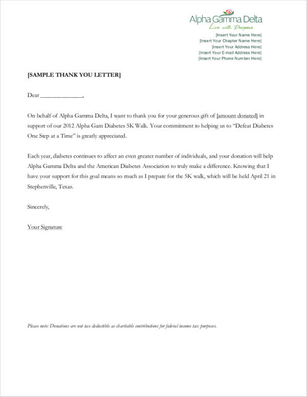 thank you letter to organization for donation
