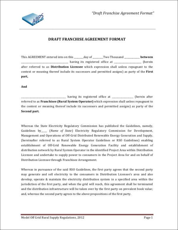 Franchise Agreement Form Sample Franchise Agreement Form Documents