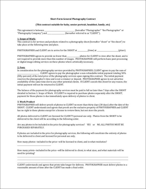 19+ Photography Contract Templates Sample Templates - photography contract template