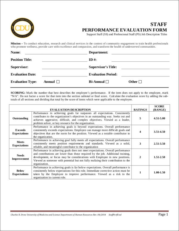 The Purpose of Employee Evaluation 10 Samples and Templates - employee evaluation form example