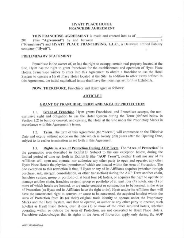 Sample Franchise Agreement Node2004 Resume Templateasprovider