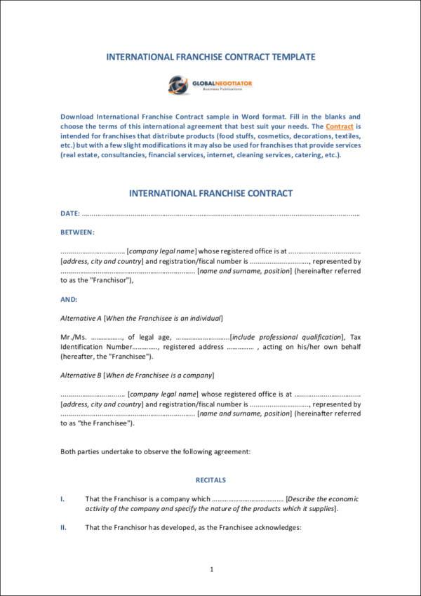 Franchise Forms - franchise agreement form