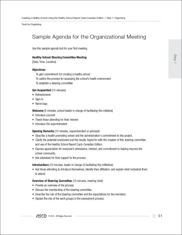 Business Meeting Agendas for Small and Medium Enterprises Sample - minutes of organizational meeting