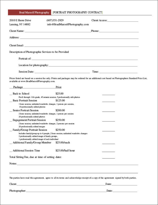 19+ Photography Contract Templates and Samples in PDF - photography services contract