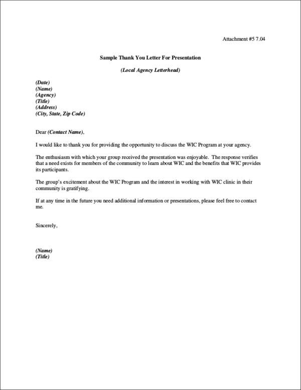Sample Thank You Letter After Presentation Image collections - thank you letter format