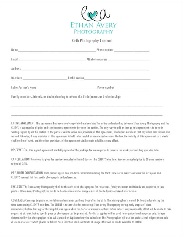 Birth photography contract template costumepartyrun birth photography contract template sampletemplatess maxwellsz