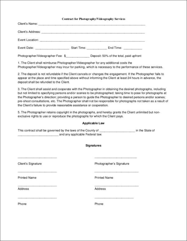 19+ Photography Contract Templates and Samples in PDF - videography contract template