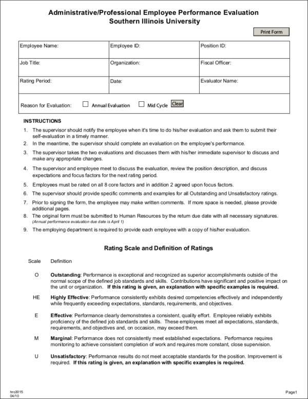 Sample Performance Evaluation Staff Performance Appraisal Form 11 - sample employee evaluation form