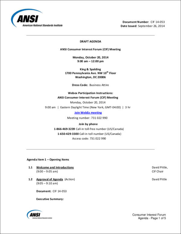 draft meeting agenda – Draft Meeting Agenda