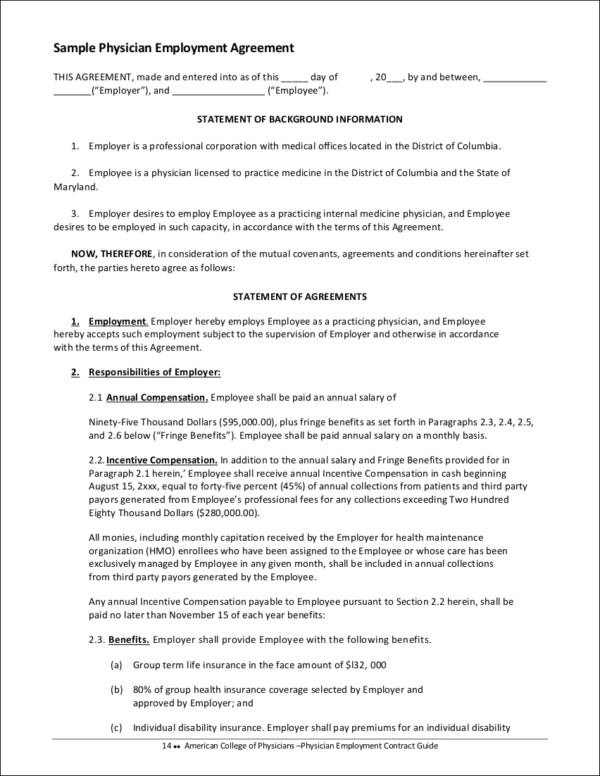 16 Employment Contract Samples  Templates Sample Templates - physician employment agreement
