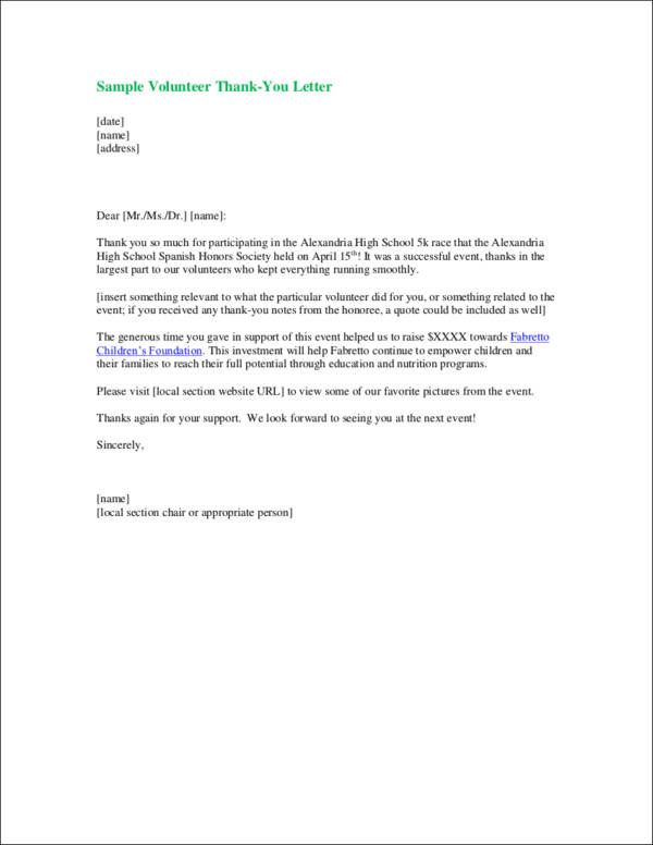 9+ Thank-You Letter Samples  Templates in DOC