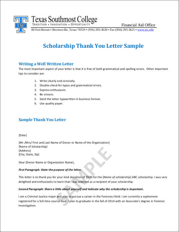 Writing College Scholarship Thank-You Letters