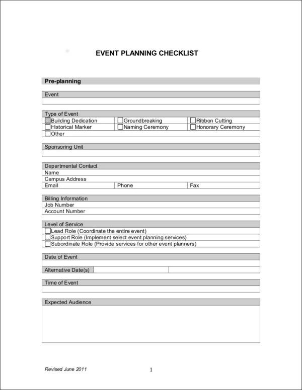 13+ Event Planning Checklist Ideas Samples  Templates in PDF, Word