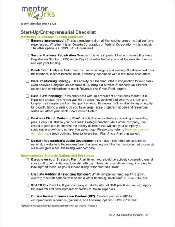 54+ Free Checklist Templates - Free Word, PDF Format Download - business startup checklist