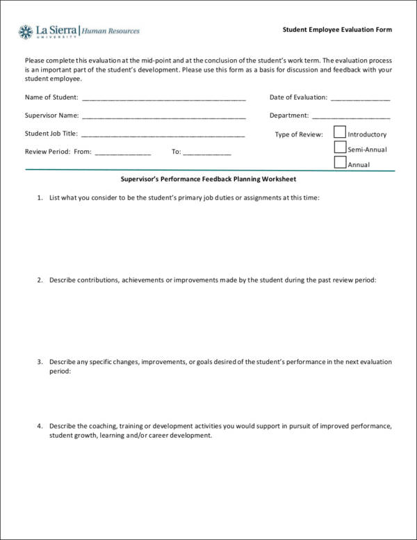 employee evaluation form samples – On the Job Training Evaluation Form