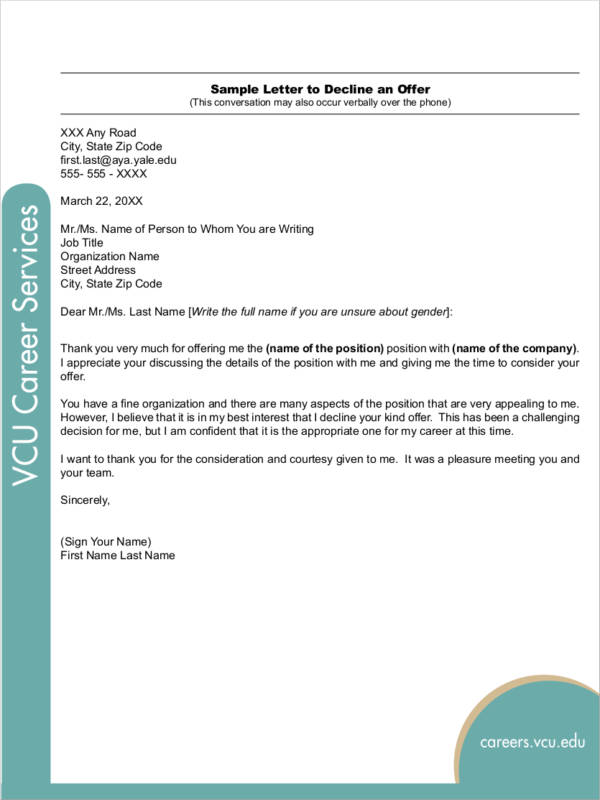 decline offer letter sample zoro blaszczak charming job offer - decline offer letter