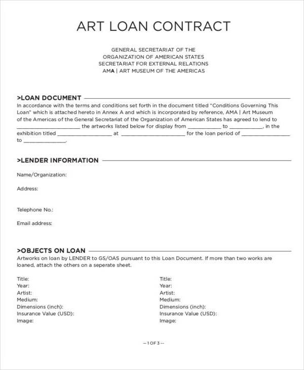 10 Loan Contract Samples  Templates Sample Templates