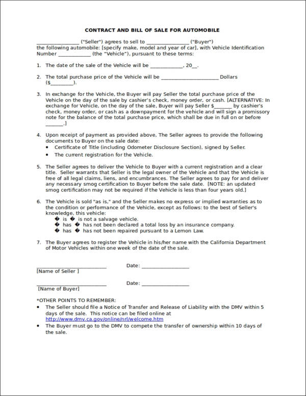 100+ Car Selling Contract Template Contract Templates Car Sale - auto purchase agreement template