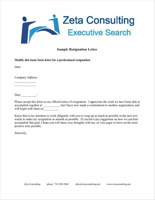 20 Professional Resignation Letter Samples  Templates Sample - professional resignation letter templates