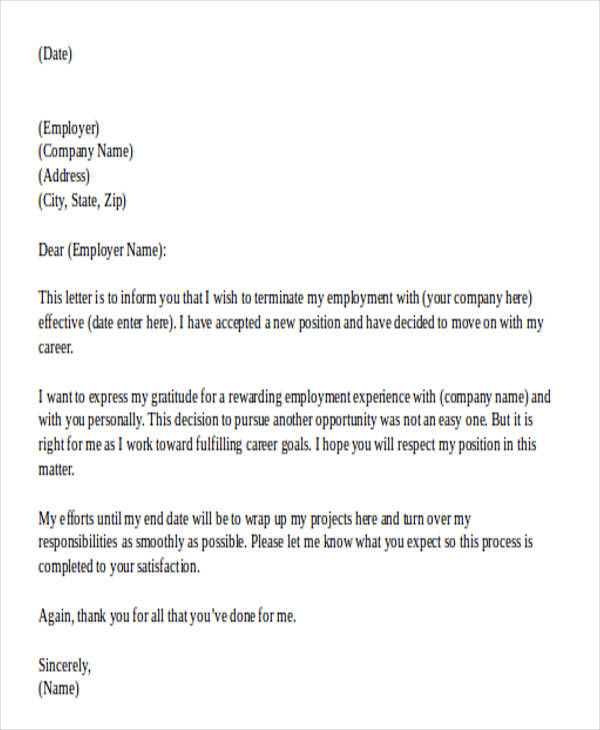 29 Official Resignation Letter Samples  Templates Sample Templates - official resignation letter