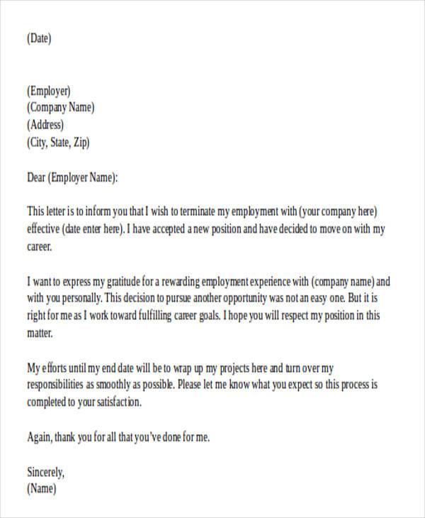 33+ Printable Resignation Letter Samples  Templates - Free Samples