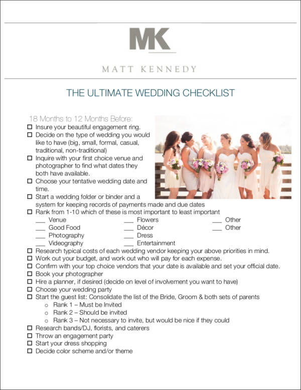 complete wedding checklist - Apmayssconstruction