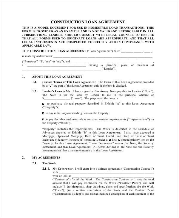 Loan Agreement Contract - Resume Template Sample - Legal Agreement Contract