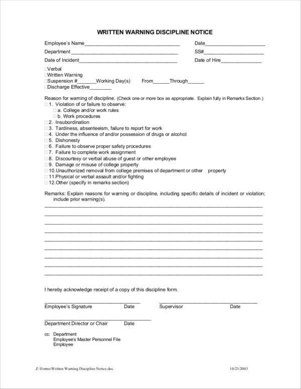 13+ Employee Warning Notice Samples  Templates - Docs, Google Docs