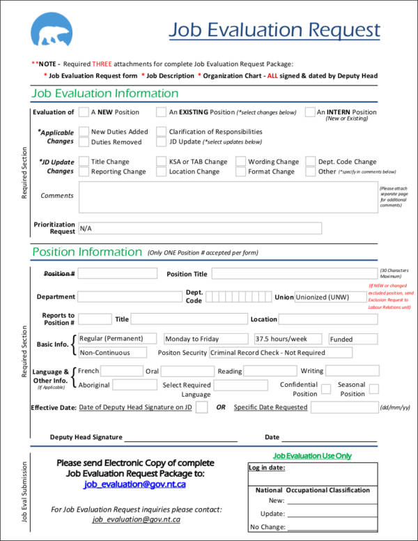 10 Job Evaluation Form Samples  Templates Sample Templates