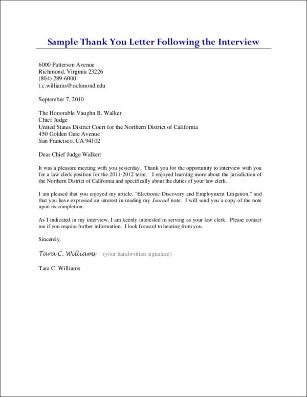 thank letter after interview