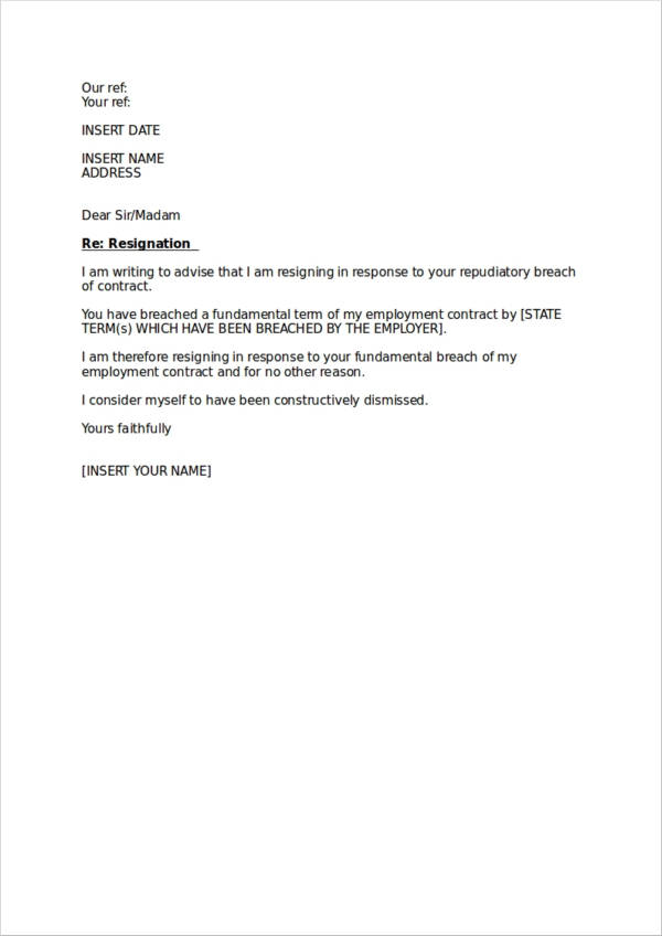 19+ Professional Resignation Letter Samples  Templates - Free Word