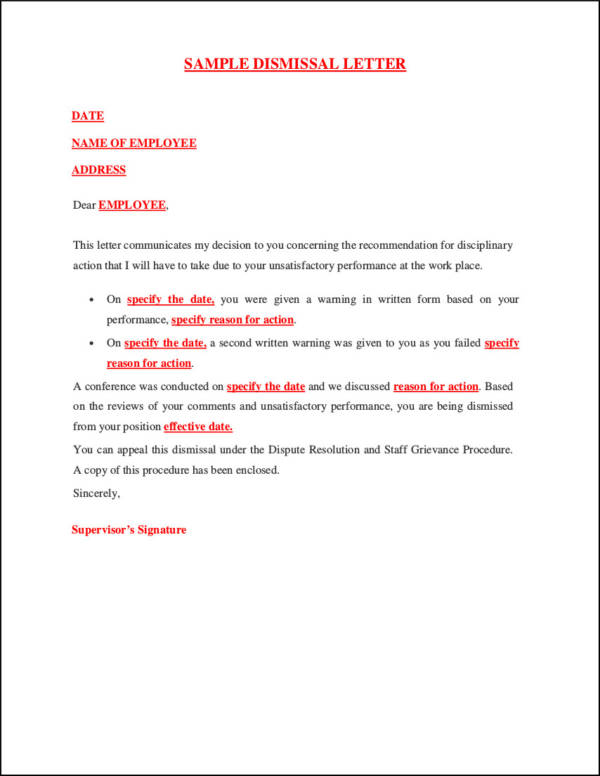sample letter for termination of employee