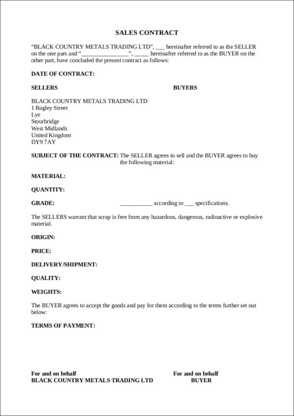 22+ Sales Contract Template - Docs, Word