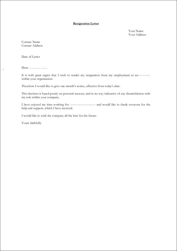 33 Printable Resignation Letter Samples  Templates Sample Templates