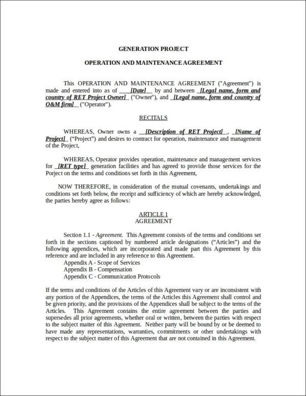 Maintenance Contract Examples  SaveBtsaCo