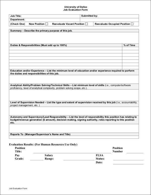 9+ Job Evaluation Form Samples  Templates - Free Word, PDF Format